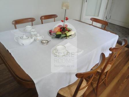 The dinning room at the apartment in San Telmo