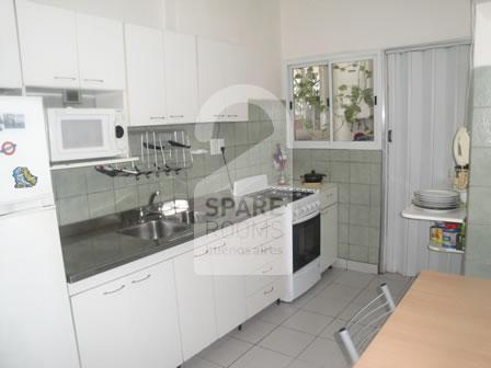 The kitchen at the apartment in Balvanera