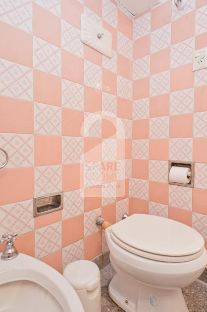 The bathroom.