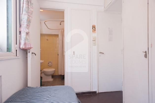 The room and its private bathroom.