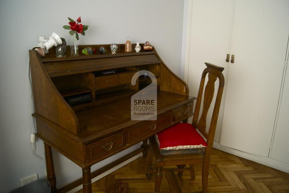 The antique desk in the room
