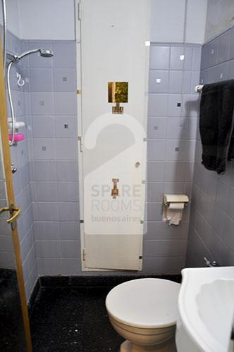 View of the bathroom with the shower space