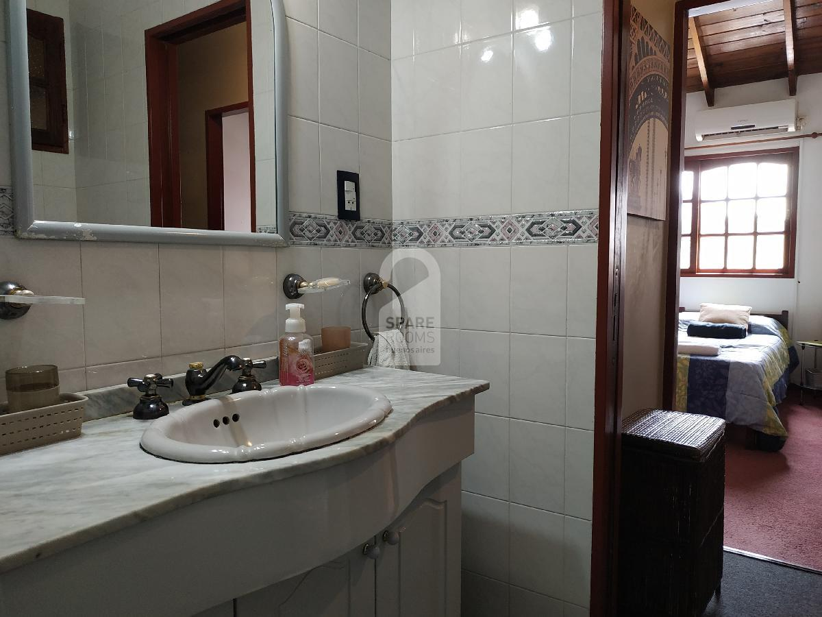 The bathroom and the  bedroom