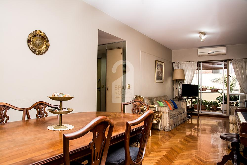 Living room + dining room at the apartment in Recoleta